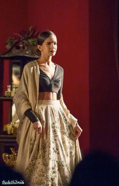 Cream & black Sabyasachi lehenga with silver work - India Couture Week 2014 #ICW2014