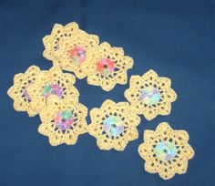 Flower appliques multi color with yellow