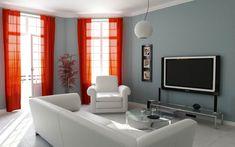 Warna Cat Ruang Tamu Yang Sejuk Orange Curtains Bright Walls Window