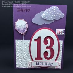 Papercrafts by Patti: It All Started With a Baby's 1st Birthday Card!, http://www.papercraftsbypatti.com/2016/08/it-all-started-with-babys-1st-birthday.html, Balloon Celebration, Large Numbers Framelits, Masculine Birthday, Number of Years, Softly Falling TIEF, Big Shot, Tree Builder Punch, SUO