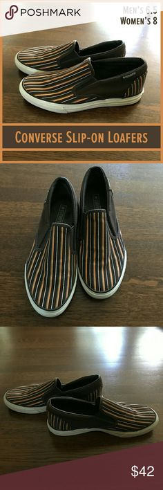 🆕 Converse Low Profile Unisex Slip-ons These striped Converse slip-ons are like new and ready to become your new favorite shoes!   From a smoke-free and happy-to-bundle closet.   No trades or transactions outside of Poshmark.  [T2020] Converse Shoes Loafers & Slip-Ons