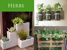 It's time to plant! Outdoor Planters-  I love planters over flowing with my favorite flowers and like to keep herbs growing in an easy to reach outdoor area so they are easy to clip when I need them for cooking.   Here are nine unique and easy to make planters and vases that will grace any outdoor space- all made by simply re-purposing ordinary items.- Momtastic    I'm doing herb cans this year!