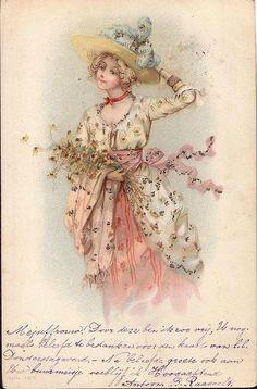 Postcard - vintage lady with bonnet