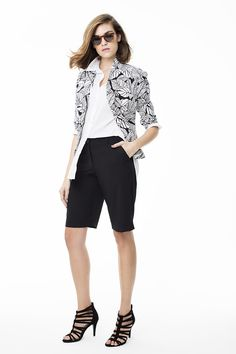 The key to pulling off our palm print blazer is balancing it with closet classics. Printed Blazer, Palm Print, Art Direction, Monochrome, Bermuda Shorts, Stylists, Key, Black And White, Model