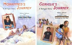 Two books from the Refugee Diary series: 'Mohammed's Journey' and 'Gervelie's Journey' written by Anthony Robinson and Annemarie Young, illustrated by June Allan (Frances Lincoln, 2009 and 2008)
