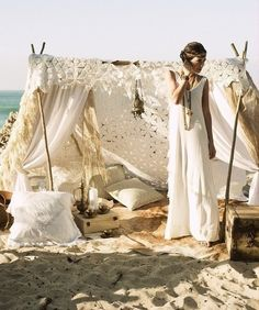 Gypsy beach style,, i just love little open tents! I want my garden to be filled with sweet little relax zones!!