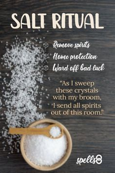 'Elemental Protection': Home-Cleanse Spell with Salt Witch Spell Book, Witchcraft Spell Books, Magick Spells, Voodoo Spells, Healing Spells, Healing Quotes, Easy Spells, Luck Spells, Money Spells