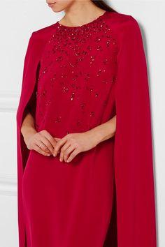 Oscar de la Renta | Embellished cape-effect silk-satin gown | NET-A-PORTER.COM