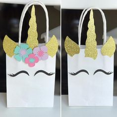 Unicorn Boy Birthday - Unicorn Boy Favor Bag - Unicorn Party Decoration - Unicorn Boy Favor - Unicorn First Birthday - Unicorn Boy Theme - Unicorn Boy Gift Bags Sets of 6 (even number of each color is standard unless specified in notes). S for Small Unicorn Bags are 5.25 x 4 x 2 In