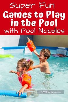 Pool Party Games using pool noodles will be a hit with guests or just a ton of fun for your family! Swimming pool games that entertain and are a blast to play! Pool Games To Play, Swimming Pool Games, Pool Party Games, Games To Play With Kids, Cool Swimming Pools, Water Games, Noodles Games, Pool Noodle Games, Swim Noodles