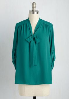 Careerist and Dearest Top in Jade - Green, Solid, Tie Neck, Work, 3/4 Sleeve, Woven, Better, Variation, V Neck, Mid-length
