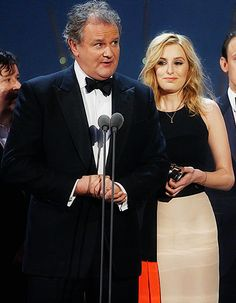 Downton Abbey's Laura Carmichael and Hugh Bonneville speaks onstage after receiving the Drama award for Downton Abbey at the National Television Awards, on January 2016 . Watch Downton Abbey, Hugh Bonneville, Laura Carmichael, January 2016, Jane Austen, Movie Tv, Awards, Beautiful Pictures, Drama