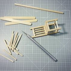 Working on a mini chair - Grig Gog Miniature Furniture, Dollhouse Furniture, Miniature Chair, Diy Barbie Furniture, Cardboard Furniture, Diy Cardboard, Sticks Furniture, Furniture Ideas, Mini Chair