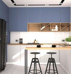 niebieska zabudowa kuchni