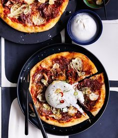 Salami and fennel pizza with burrata