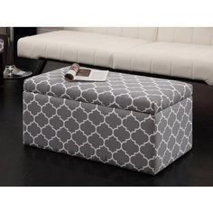 Buy Emily Rectangular Storage Ottoman Grey/White Pattern In Cheap Price On  M.alibaba