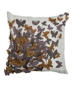 Look at this #zulilyfind! Cream & Gray Butterfly Throw Pillow #zulilyfinds