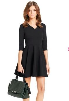 Diane Von Furstenberg JEANNIE V-NECK ELBOW FIT & FLARE dress