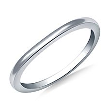 1.1mm Curved Wedding Band in 14K White Gold
