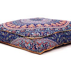 Indian Mandala Floor Pillow Square Ottoman Pouf Daybed Oversized Cushion Cover Cotton Seating Ottoman Poufs Dog / Pets Bed Sold By Handcraft-Palace