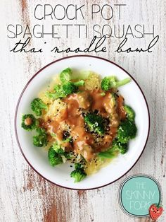 Crock Pot Spaghetti Squash Thai 'Noodle' Bowl — Cook your squash in the crock pot for a super easy summer and bikini bikini friendly dinner! Only 145 calories!