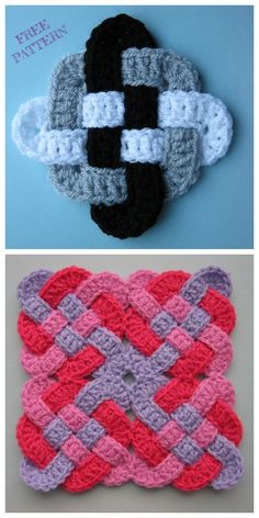 Kate's Crochet World Crochet Potholder Patterns, Crochet Motifs, Granny Square Crochet Pattern, Crochet Flower Patterns, Crochet Squares, Crochet Designs, Crochet Stitches, Knitting Patterns, Free Crochet Square