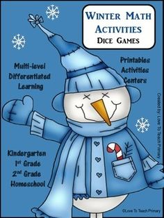 A free set of dice games just in time for Winter! Includes: Addition Place Value Subtraction Comparing Numbers And more.... This is a Winter version of my FREE Spring Math Dice Games