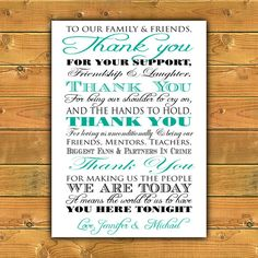 Printable Thank You Wedding Sign  Thank You to by ParraclanDesigns, $10.00