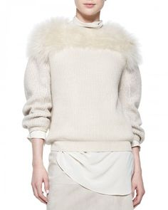 Brunello Cucinelli Fur Yoked Cashmere Blend Sweater Orzo | Clothing