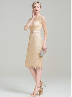 Sheath/Column Scoop Neck Knee-Length Beading Sequins Zipper Up Sleeves 3/4 Sleeves No 2016 Champagne General Plus Lace Mother of the Bride Dress