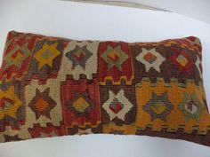 KILIM Lumbar Pillows,Vintage Turkish Kilim Pillows,Large Woven Pillow Cover-Decorative Throw Pillows-12x22 BROWN Kilim Pillows,Body Pillows