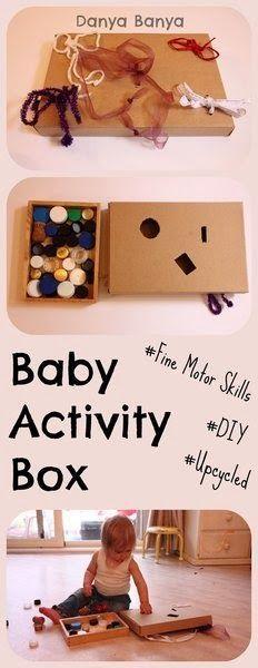 DIY Baby (or toddler) Activity Box - make it for free using recycled / upcycled materials. ~ Danya Banya