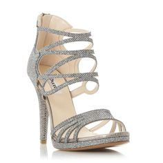 DUNE LADIES MIROIR - Metallic Strappy High Heel Sandal - pewter | Dune Shoes Online