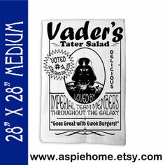 Funny Star Wars Tea Towel MEDIUM 28 x 28 Premium by AspieHome, $15.00