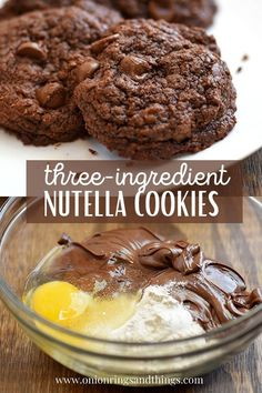 Nutella Cookies recipe with only three ingredients (chocolate chips optional), no mixer needed, and ready in 15 minutes or less. They're chewy, fudgy, and chocolatey treats the whole family will love! #cookies #nutella #chocolate #bakedgoods Nutella Cookies, Nutella Chocolate, Chocolate Chips, Fruit Cookies, Brownie Cookies, Bar Cookies, Cupcake Cookies, Chocolate Cookies, Cupcakes