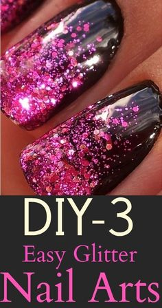DIY – 3 Easy Glitter Nail Arts   :  Almost everyone loves glitter on their nails. And so here are 4 easy glitter nail art ideas and tutorials on them so that you can sport them too! Try out now.#Nails #Nailart: