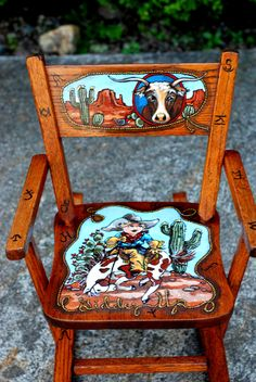 Childrens rocking chair, hand painted by latasha Hand Painted Chairs, Painted Stools, Hand Painted Furniture, Paint Furniture, Repurposed Furniture, Cool Furniture, Redoing Furniture, Western Furniture, Furniture Ads