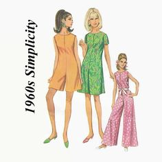 1960s Sewing Pattern - Vintage Simplicity 7139 - Misses' Pantdress Jumpsuit in 3 Lengths - Size 16 - Bust 36 - UNCUT - Mod 1960s Mini Maxi by EightMileVintageSews on Etsy