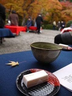 Japanese sweets and tea at Okochi Sanso Villa, Arashiyama, Kyoto, Japan 大河内山荘