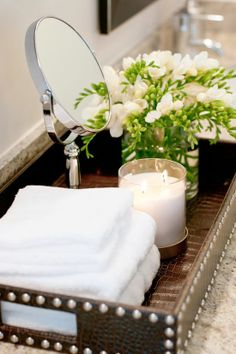 I love the idea of using a tray to anchor bathroom items on the counter. Looks much better that | http://coolbathroomdecorideas.blogspot.com