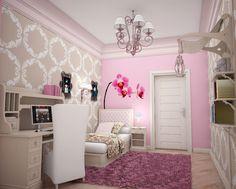 Feminine Teenage Girl Bedroom Glass Chandelier White Canopy Bed ...