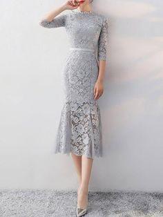 Plus Size Stand Collar Midi Dress Blouson Daily Dress 3 4 Sleeve Elegant Prom Dresses Dress Brukat, Kebaya Dress, Lace Midi Dress, Dress Form, Mermaid Midi Dress, Elegant Prom Dresses, Beautiful Dresses, Nice Dresses, Evening Dresses