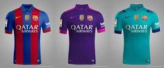 Confirmed: Sport's Leaked Barcelona 16-17 Kits Were Just a Fantasy Design - Footy Headlines Fc Barcelona, Barcelona Third Kit, Barcelona Jerseys, Football Team Kits, Soccer Kits, Jersey Atletico Madrid, Nike Soccer, Soccer Jerseys, World Cup