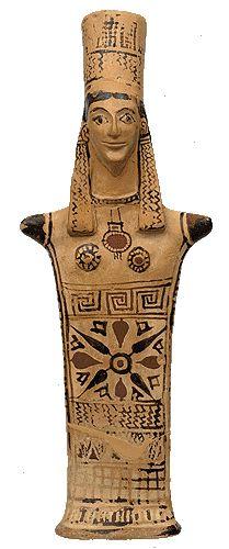 Female clay figurine. From Boetioa (Tanagra). 575-550 B.C.