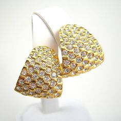 Vintage Rhinestone Earrings Paved Clear Rhinestones Clipback Goldtone Setting Minty Circa 1980 Costume Jewelry Elegant via Etsy