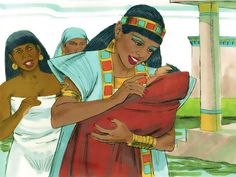 Free Bible illustrations at Free Bible images of Baby Moses rescued from Pharaoh's death sentence. (Exodus 1:8 - 2:10): Slide 19