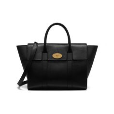 Mulberry - Bayswater with Strap in Black Small Classic Grain