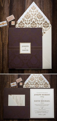 Damask Pocket Folder Wedding Invitation by Penn & Paperie. A gorgeous brown and gold invitation for a same-sex wedding.
