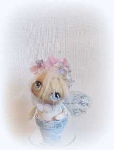 Adorable mini Angel fairy cloth doll in a blue pot by suziehayward