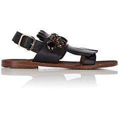 Marni Women's Jewel-Embellished Leather Kiltie Sandals ($640) ❤ liked on Polyvore featuring shoes, sandals, black, leather sandals, embellished sandals, open toe flats, black flat shoes and black embellished sandals